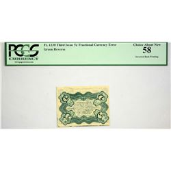 Fr. 1238. 5 Cents. Third Issue. PCGS Choice About New 58. Inverted Back.