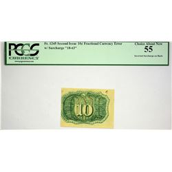 Fr. 1245. 10 Cents. Second Issue. PCGS Choice About New 55. Inverted Surcharge.