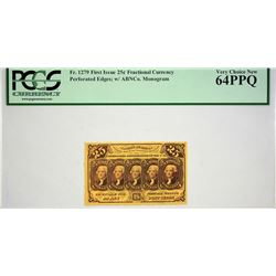 Fr. 1279. 25 Cents. First Issue. PCGS Very Choice New 64 PPQ.
