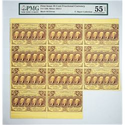 Incredible Fr. 1280 Block of Eleven Notes Fr. 1280. 25 Cents. First Issue. PMG About Uncirculated 55