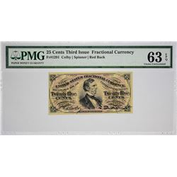 Fr. 1291. 25 Cents. Third Issue. PMG Choice Uncirculated 63 EPQ.