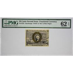 Fr. 1321. 50 Cents. Second Issue. PMG Uncirculated 62 EPQ.