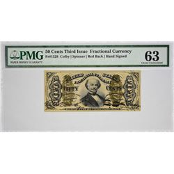 Fr. 1328. 50 Cents. Third Issue. Spinner. PMG Choice Uncirculated 63.