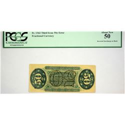 Fr. 1362. 50 Cents. Third Issue. Justice. PCGS About New 50, Inverted Surcharge.