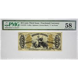 Fr. 1372. 50 Cents. Third Issue. Justice. PMG Choice About Uncirculated 58.
