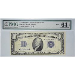 Fr. 1705*. 1934D $10 Silver Certificate Star Note. PMG Choice Uncirculated 64 EPQ. Wide.