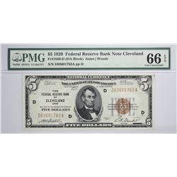 Fr. 1850-D. 1929 $5 Federal Reserve Bank Note. Cleveland. PMG Gem Uncirculated 66 EPQ.