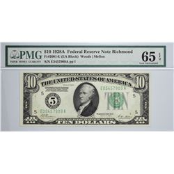 Fr. 2001-E. 1928A $10  Federal Reserve Note. Richmond. PMG Gem Uncirculated 65 EPQ.