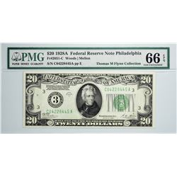 Fr. 2051-C. 1928A $20 Federal Reserve Note. Philadelphia. PMG Gem Uncirculated 66 EPQ.