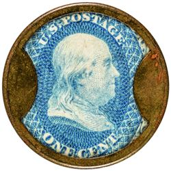 Burnett's Cocoaine Kalliston. 1 Cent. HB-73, EP-9, S-44. Choice About Uncirculated.