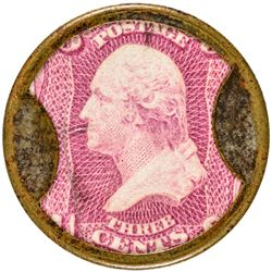 Burnett's Cocoaine Kalliston. 3 Cents. HB-74, EP-39, S-45. Extremely Fine.