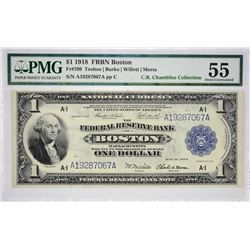 Fr. 709. 1918 $1 Federal Reserve Bank Note. Boston. PMG About Uncirculated 55.