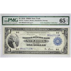 Fr. 712. 1918 $1 Federal Reserve Bank Note. New York. PMG Gem Uncirculated 65 EPQ.