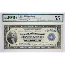 Fr. 724. 1918 $1 Federal Reserve Bank Note. Atlanta. PMG About Uncirculated 55.