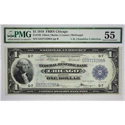 Fr. 729. 1918 $1 Federal Reserve Bank Note. Chicago. PMG About Uncirculated 55. Only trivial circula