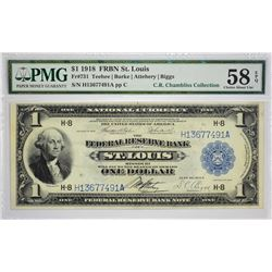 Fr. 731. 1918 $1 Federal Reserve Bank Note. St. Louis. PMG Choice About Uncirculated 58 EPQ. One of