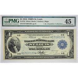 Fr. 732. 1918 $1 Federal Reserve Bank Note. St. Louis. PMG Choice Extremely Fine 45. Track & Price l