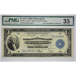 Fr. 735. 1918 $1 Federal Reserve Bank Note. Minneapolis. PMG Choice Very Fine 35. Although seen here