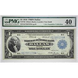Fr. 742. 1918 $1 Federal Reserve Bank Note. Dallas. PMG Extremely Fine 40. A beautiful collector gra