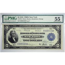 Fr. 752. 1918 $2 Federal Reserve Bank Note. New York. PMG About Uncirculated 55. Just a center fold