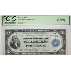 Fr. 772. 1918 $2 Federal Reserve Bank Note. Minneapolis. PCGS Choice New 63 PPQ. Only a pair of vari