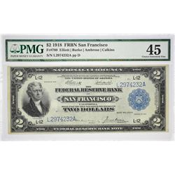 Fr. 780. 1918 $2 Federal Reserve Bank Note. San Francisco. PMG Choice Extremely Fine 45.