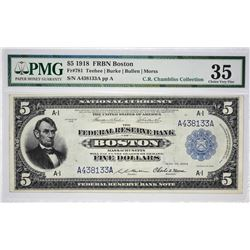 Rare Five Dollar Boston FRBN Fr. 781. 1918 $5 Federal Reserve Bank Note. Boston. PMG Choice Very Fin