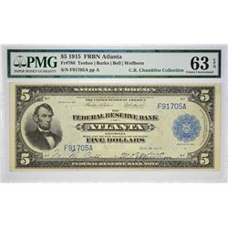 Highly Scarce Fr. 788 Atlanta Note Fr. 788. 1918 $5 Federal Reserve Bank Note. Atlanta. PMG Choice U
