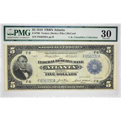 Fr. 790. 1918 $5 Federal Reserve Bank Note. Atlanta. PMG Very Fine 30.