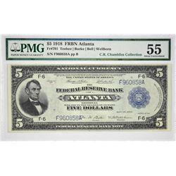 Fr. 791. 1918 $5 Federal Reserve Bank Note. Atlanta. PMG About Uncirculated 55.