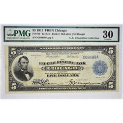 Fr. 793. 1918 $5 Federal Reserve Bank Note. Chicago. PMG Very Fine 30.