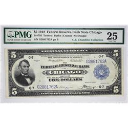Rare Chicago Cramer - McDougal Five Dollar Fr. 795. 1918 $5 Federal Reserve Bank Note. Chicago. PMG