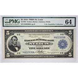 Fr. 796. 1918 $5 Federal Reserve Bank Note. St. Louis. PMG Choice Uncirculated 64.