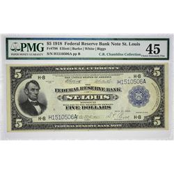 Fr. 798. 1918 $5 Federal Reserve Bank Note. St. Louis. PMG Choice Extremely Fine 45.