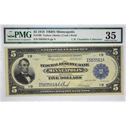 Fr. 799. 1918 $5 Federal Reserve Bank Note. Minneapolis. PMG Choice Very Fine 35.
