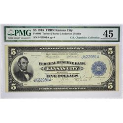 Fr. 800. 1918 $5 Federal Reserve Bank Note. Kansas City. PMG Choice Extremely Fine 45.