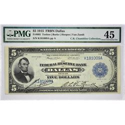Rare Dallas $5 Federal Reserve Bank Notes Fr. 805. 1915 $5 Federal Reserve Bank Note. Dallas. PMG Ch