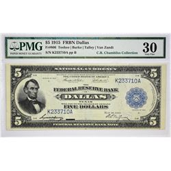 Fr. 806. 1915 $5 Federal Reserve Bank Note. Dallas. PMG Very Fine 30.