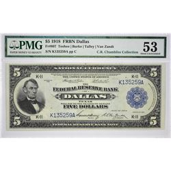 Fr. 807. 1918 $5 Federal Reserve Bank Note. Dallas. PMG About Uncirculated 53.