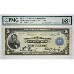 High Quality Large Signature Clerk - Lynch San Francisco Five Dollar Fr. 808. 1915 $5 Federal Reserv