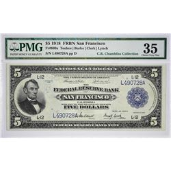 Fr. 809a. 1918 $5 Federal Reserve Bank Note. San Francisco. PMG Choice Very Fine 35.