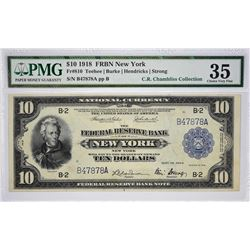 Fr. 810. 1918 $10 Federal Reserve Bank Note. New York. PMG Choice Very Fine 35.