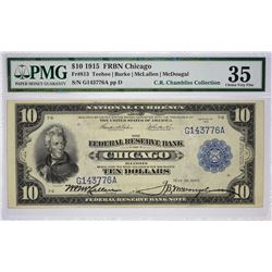 Fr. 813. 1915 $10 Federal Reserve Bank Note. Chicago. PMG Choice Very Fine 35.