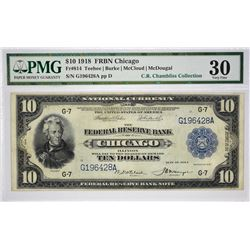 Fr. 814. 1918 $10 Federal Reserve Bank Note. Chicago. PMG Very Fine 30.