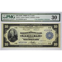Fr. 815. 1918 $10 Federal Reserve Bank Note. St. Louis. PMG Very Fine 30.