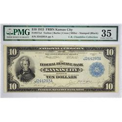 Fr. 817a1. 1915 $10 Federal Reserve Bank Note. Kansas City. Stamped (Black). PMG Choice Very Fine 35