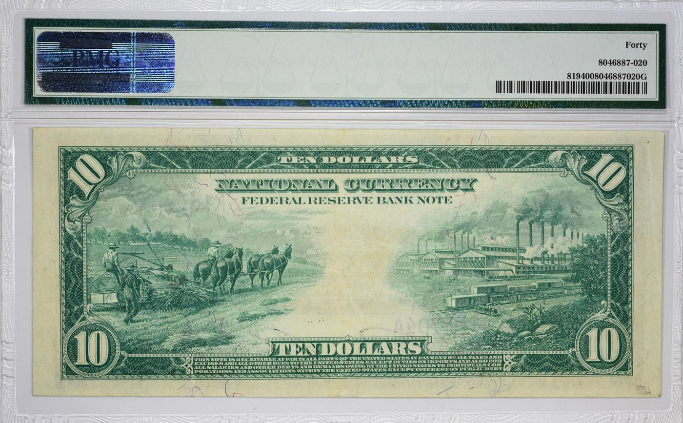 Fr  819  1915 $10 Federal Reserve Bank Note  Dallas  PMG Extremely Fine 40