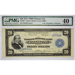 PMG Extremely Fine 40 Kansas City $20 FRBN Fr. 827. 1915 $20 Federal Reserve Bank Note. Kansas City.