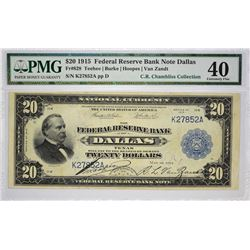 Impressive Dallas $20 Offering Fr. 828. 1915 $20 Federal Reserve Bank Note. Dallas. PMG Extremely Fi