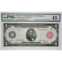 Fr. 832a. 1914 $5 Federal Reserve Note. Red Seal. Boston. PMG Choice Extremely Fine 45.